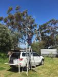 Mike VK6MB putting up his homemade mast.